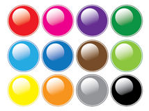 Round Glossy Buttons Stock Images