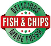 Round delicious fish and chips badge. Round glossy delicious FISH AND CHIPS badge Royalty Free Stock Image