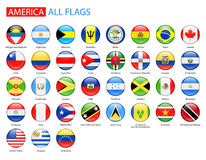 Round Glossy Flags of America - Full Vector Collection. stock illustration