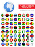 Round Glossy Flags Of Africa Complete Set Stock Photos
