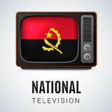 Round glossy icon of Angola. Vintage TV and Flag of Angola as Symbol National Television. Tele Receiver with Angolan flag Royalty Free Stock Photography