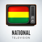 Round glossy icon of Bolivia. Vintage TV and Flag of Bolivia as Symbol National Television. Tele Receiver with Bolivian flag Royalty Free Stock Images