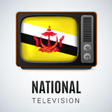 Round glossy icon of Brunei. Vintage TV and Flag of Brunei as Symbol National Television. Tele Receiver with Bruneian flag Royalty Free Stock Image