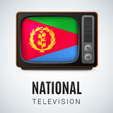 Round glossy icon of Eritrea. Vintage TV and Flag of Eritrea as Symbol National Television. Tele Receiver with Eritrean flag Royalty Free Stock Photography