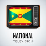 Round glossy icon of Grenada. Vintage TV and Flag of Grenada as Symbol National Television. Tele Receiver with Grenadian flag Stock Photos