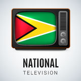 Round glossy icon of Guyana. Vintage TV and Flag of Guyana as Symbol National Television. Tele Receiver with Guyanese flag Stock Images
