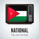 Round glossy icon of Jordan. Vintage TV and Flag of Jordan as Symbol National Television. Tele Receiver with Jordanian flag Stock Images