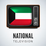 Round glossy icon of Kuwait. Vintage TV and Flag of Kuwait as Symbol National Television. Tele Receiver with Kuwaiti flag Royalty Free Stock Images