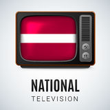 Round glossy icon of Latvia. Vintage TV and Flag of Latvia as Symbol National Television. Tele Receiver with Latvian flag Royalty Free Stock Image