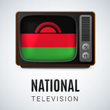 Round glossy icon of Malawi. Vintage TV and Flag of Malawi as Symbol National Television. Tele Receiver with Malawian flag Royalty Free Stock Photo