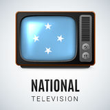 Round glossy icon of Micronesia. Vintage TV and Flag of Federated States of Micronesia as Symbol National Television. Tele Receiver with flag design Royalty Free Stock Photos