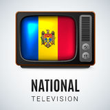 Round glossy icon of Moldova. Vintage TV and Flag of Moldova as Symbol National Television. Tele Receiver with Moldovan flag Royalty Free Stock Photography