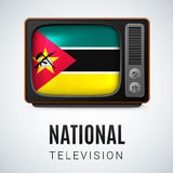Round glossy icon of Mozambique. Vintage TV and Flag of Mozambique as Symbol National Television. Tele Receiver with Mozambican flag Royalty Free Stock Photos