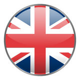 Round glossy  icon with national flag of United Kindom on white background. Isolated Great Britain icon. Royalty Free Stock Photos