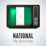 Round glossy icon of Nigeria Royalty Free Stock Photo