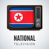 Round glossy icon of North Korea Royalty Free Stock Images