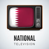 Round glossy icon of Qatar Royalty Free Stock Photography