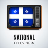 Round glossy icon of Quebec Stock Photo