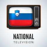 Round glossy icon of Slovenia Stock Photography