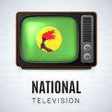 Round glossy icon of Zaire. Vintage TV and Flag of Zaire as Symbol National Television. Tele Receiver with Zairean flag Royalty Free Stock Images