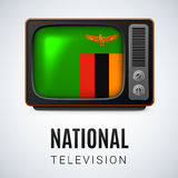 Round glossy icon of Zambia. Vintage TV and Flag of Zambia as Symbol National Television. Tele Receiver with Zambian flag Stock Images