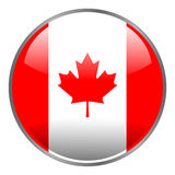Round glossy isolated  icon with national flag of Canada on white background. Royalty Free Stock Image