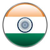 Round glossy isolated  icon with national flag of India on white background. Royalty Free Stock Photo