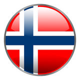 Round glossy isolated  icon with national flag of Norway on white background. Stock Image