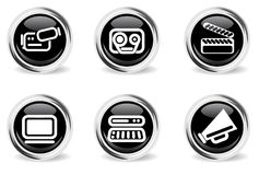 Round glossy media icon set. Round glossy media icons for web sites and user interface royalty free illustration