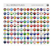 Round Glossy World Flags Vector Collection vector illustration