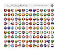 Round Glossy World Flags Vector Collection Stock Photos
