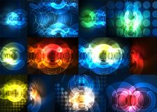 Round glowing elements on dark space, abstract background set. Digital technology backgrounds royalty free illustration