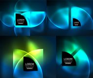 Round glowing elements, digital techno abstract background set. Vector technology wallpaper with light effects royalty free illustration