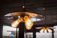Round glowing tungsten lamp Stock Image