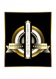 Round gold badge with gold stars Royalty Free Stock Image