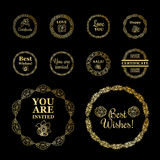 Round gold borders or frames set on the black background. Stock Images