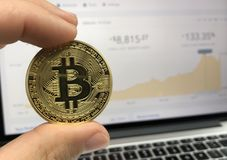 Round Gold-colored Bitcoin Royalty Free Stock Photography