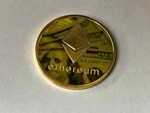 Round Gold-colored Ethereum Ornament Royalty Free Stock Image