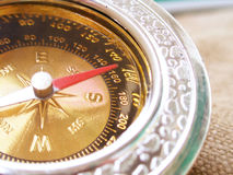 Round gold compass Royalty Free Stock Image