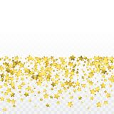 Round gold confetti. Celebrate background. Golden sparkles and dots on transparent backdrop. Luxury invitation card template. Falling gold confetti. Glitter Royalty Free Stock Photos