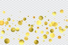 Round gold confetti. Glitter vector celebrate background. Watercolor golden sparkles and dots. Explosion backdrop. Christmas party invitation card template Stock Image