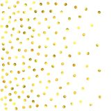 Round gold confetti. Glow vector celebrate background. Watercolor golden sparkles and dots. Voucher backdrop. Christmas party invitation card template. Falling Stock Photo