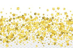 Round gold confetti. Star gold confetti. Glitter vector celebrate background. Golden sparkles and dots on transparent backdrop. Christmas party invitation card Stock Images