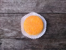 Round Gold Egg Yolk Thread Cakes on the wooden table. Royalty Free Stock Photography