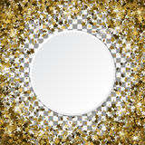 Round gold frame or border of random scatter 3d golden stars on. Transparent background. Design element for festive banner, birthday and greeting card, postcard Royalty Free Stock Image
