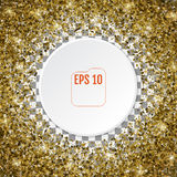 Round gold frame or border of random scatter 3d golden stars on. Transparent background. Design element for festive banner, birthday and greeting card, postcard Royalty Free Stock Images