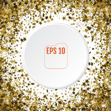 Round gold frame or border of random scatter 3d golden stars on. White background. Design element for festive banner, birthday and greeting card, postcard Royalty Free Stock Images