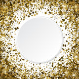 Round gold frame or border of random scatter 3d golden stars on. White background. Design element for festive banner, birthday and greeting card, postcard Royalty Free Stock Photography