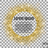 Round gold frame or border of random scatter golden stars on tra. Nsparent background. Design element for festive banner, birthday and greeting card, postcard Royalty Free Stock Photos