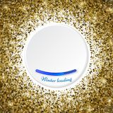 Round gold frame or border of random scatter golden stars on whi. Te background. Design element for festive banner, birthday and greeting card, postcard, wedding Royalty Free Stock Image